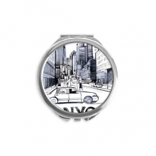 NYC Love New York City America Landscape Hand Compact Mirror Round Portable Pocket Glass