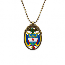 Colombia National Emblem Country Antique Brass Necklace Vintage Pendant Jewelry Deluxe Gift