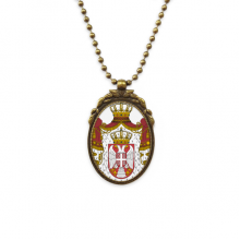Serbia National Emblem Country Antique Brass Necklace Vintage Pendant Jewelry Deluxe Gift