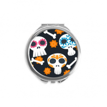 Bones Skull Flower Mexico Culture Illustration Mirror Round Portable Hand Pocket Makeup
