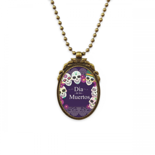 Skull The Day Of The Dead Illustration Antique Necklace Vintage Bead Pendant Keychain