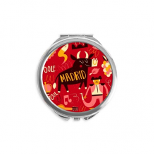 Madrid Spanish Bullfight Music Fiesta Mirror Round Portable Hand Pocket Makeup