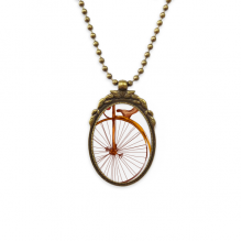 Old Fashioned Bicycle High Wheeler Britain Antique Brass Necklace Vintage Pendant Jewelry Deluxe Gift