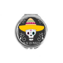 Hat Skull Mexico Happy The Day Of The Dead Mirror Round Portable Hand Pocket Makeup