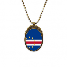 Cape Verde National Flag Africa Country Antique Brass Necklace Vintage Pendant Jewelry Deluxe Gift
