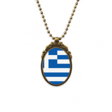 Greece National Flag European Symbol Pattern Antique Brass Necklace Vintage Pendant Jewelry Deluxe Gift