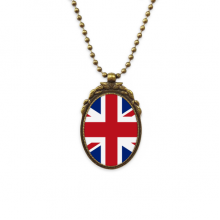 UK National Flag Europe Country Pattern Antique Brass Necklace Vintage Pendant Jewelry Deluxe Gift