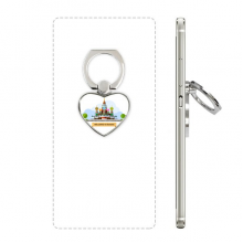 Russia Cathedral Pattern Illustration Heart Cell Phone Ring Stand Holder Bracket Universal Support Gift
