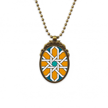 Flower Morocco Style Abstract Geometry Antique Brass Necklace Vintage Pendant Jewelry Deluxe Gift