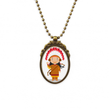 Aboriginal Tribe USA Cartoon Antique Brass Necklace Vintage Pendant Jewelry Deluxe Gift