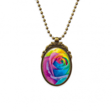 Rainbow Gay Lesbian Flower LGBT Antique Brass Necklace Vintage Pendant Jewelry Deluxe Gift