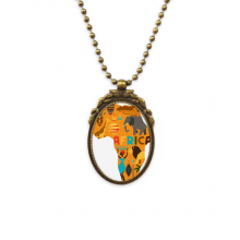 Africa Map Elephant African Savanna Illustration Antique Brass Necklace Vintage Pendant Jewelry Deluxe Gift