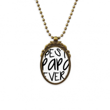Bless Father Best Papa Ever Words Antique Brass Necklace Vintage Pendant Jewelry Deluxe Gift