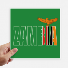 Zambia Country Flag Name Square Stickers 20cm Wall Suitcase Laptop Motobike Decal 4pcs