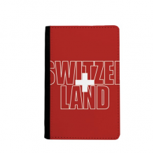 Switzerland Country Flag Name Passport Holder Travel Wallet Cover Case Card Purse