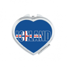 Iceland Country Flag Name Heart Compact Makeup Mirror Portable Cute Hand Pocket Mirrors Gift