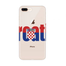 Croatia Country Flag Name for Apple iPhone 7/8 Plus Phone Case Flexible Soft Slim Transparent Cover