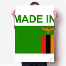 Made In Zambia Country Love Vinyl Wall Sticker Poster Mural Wallpaper Room Decal 80X55cm