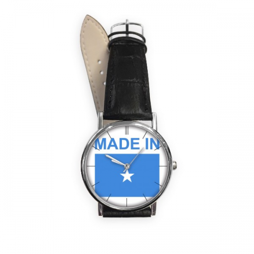 Made In Somalia Country Love Quartz Analog Wrist Business Casual Watch Stainless Steel Case Gift