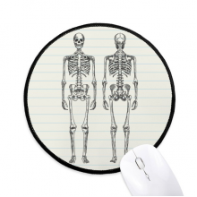 Human Body Structure Skeleton Round Non-Slip Mousepads Black Stitched Edges Game Office Gift