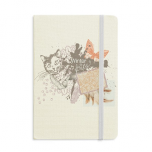 Little Cat and Butterfly in Ink-painting Notebook Fabric Hard Cover Classic Journal Diary A5