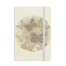 Elegant Vintage Grey Butterfly Wallpaper Notebook Fabric Hard Cover Classic Journal Diary A5