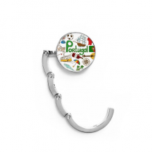 Portugal Love Heart Landscap National Flag Table Hook Folding Bag Desk Hanger Foldable Holder