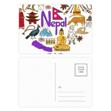 Nepal Love Heart Landscap National Flag Postcard Set Birthday Mailing Thanks Greeting Card