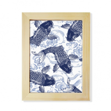 Carp Wave Blue Pattern Japan Desktop Wooden Photo Frame Picture Art Painting 6x8 inch