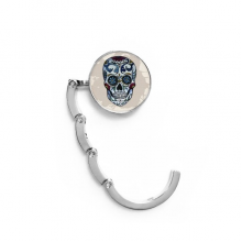 Gray Skull Mexico National Culture Illustration Table Hook Folding Bag Desk Hanger Foldable Holder