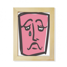 Sad Abstract Face Sketch Happy Desktop Adorn Photo Frame Display Art Painting Wooden