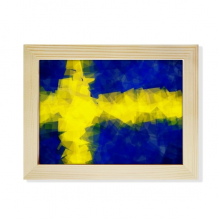 Swedish Abstract Flag Pattern Desktop Wooden Photo Frame Picture Art Painting 6x8 inch