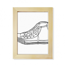 White Canvas Shoes Hand Painted Pattern Desktop Wooden Photo Frame Picture Art Painting 6x8 inch