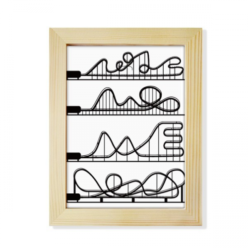 Amusement Park Black Roller Coaster Outline Desktop Adorn Photo Frame Display Art Painting Wooden