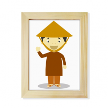 Bamboo Hat Vietnam Cartoon Desktop Wooden Photo Frame Picture Art Painting 6x8 inch