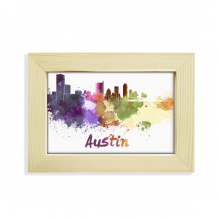 Austin America City Watercolor Desktop Decorate Photo Frame Picture Art Painting 5x7 inch