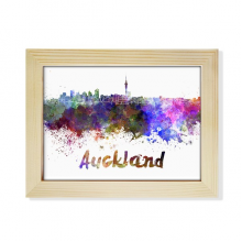 Auckland New Zealand City Watercolor Desktop Wooden Photo Frame Picture Art Painting 6x8 inch