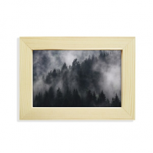 Dark Forest Mountain Fog Mist Desktop Wooden Photo Frame Picture Art Painting 5x7 inch