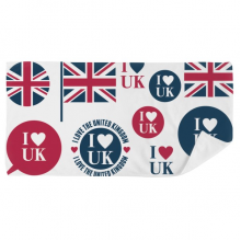 Union Jack I Love UK Heart-shaped Country Bath Towel Soft Washcloth Facecloth 35x70cm
