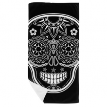 Black White Mexico Day Of Dead Bath Towel Soft Washcloth Facecloth 35x70cm