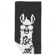 Be Cool Alpaca Black White Quote Bath Towel Soft Washcloth Facecloth 35x70cm