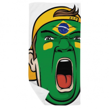 Brazil National Flag Makeup Screaming Cap Bath Towel Soft Washcloth Facecloth 35x70cm