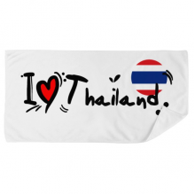 I Love Thailand Word Flag Love Heart Illustration Bath Towel Soft Washcloth Facecloth 35x70cm