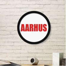 Aarhus Denmark City Red Round Frame Art Painting Wooden Home Wall Decor