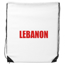 Lebanon Country Name Red Drawstring Backpack Shopping Sports Bags Gift
