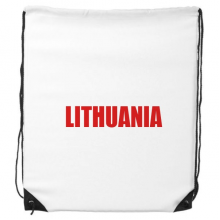 Lithuania Country Name Red Drawstring Backpack Shopping Sports Bags Gift