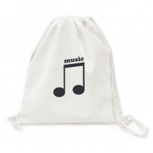 Dark Purple Music Notes Black Backpack Canvas Drawstring Bag Shopping Travel