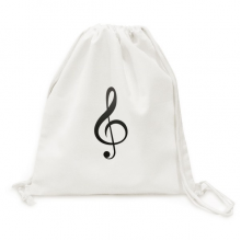 Black Music Treble Clef White Backpack Canvas Drawstring Bag Shopping Travel
