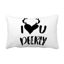I Love You Deerly Quote Style Throw Pillow Lumbar Insert Cushion Cover Home Sofa