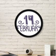 14 February Love Quote Handwrite Round Frame Art Painting Wooden Home Wall Decor